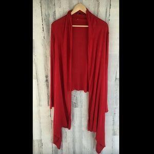 DKNY The Cozy Red Draped Cardigan Cardiwrap